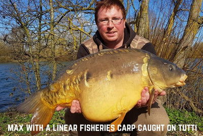 Max with a Linear Fisheries Carp caught on Tutti Frutti Pop Ups