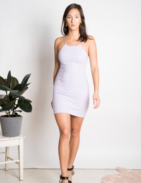 Ribbed stretch bodycon racer neck dress