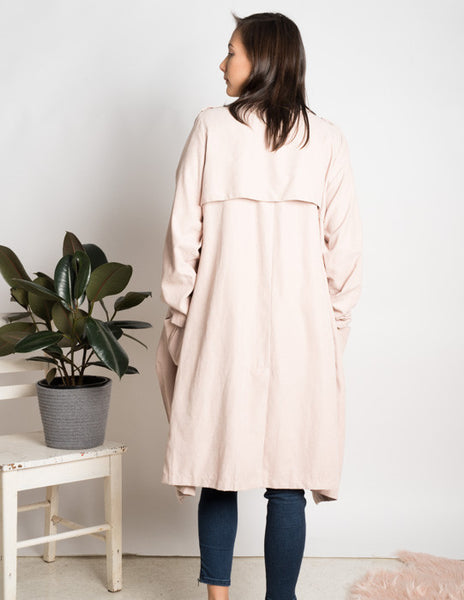 Waterfall duster faux suede trench coat