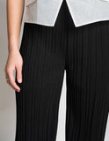 Pleated sleek wide leg culottes