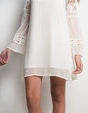 Vintage boho lace flare sleeve mini dress