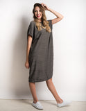 Textured tshirt shift dress