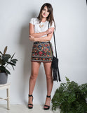 Embroidered Tapestry Mini Skirt