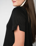 Turtleneck t-shirt crop with split sleeves