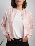 Pink Palm Tree Detailed Bomber Jacket
