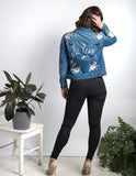 Au Revoir Floral Embroidered Denim Jacket