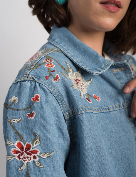 Vintage Floral Embroidered Denim Jacket