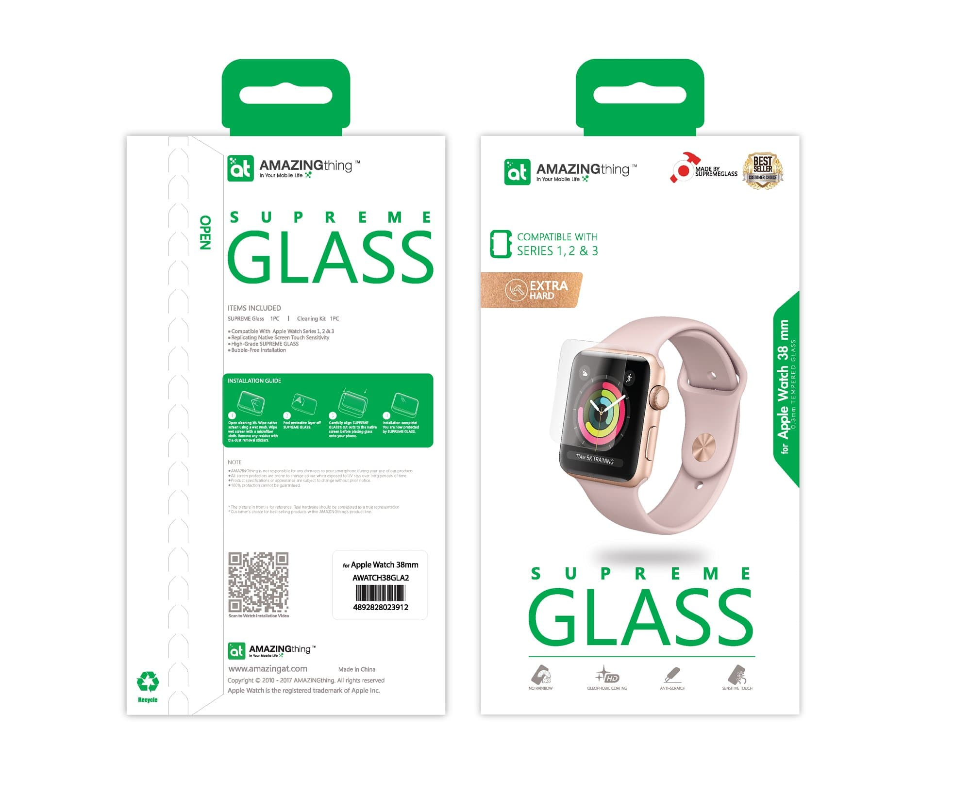 AMAZINGthing SupremeGlass for Apple Watch 38mm - Case Studio