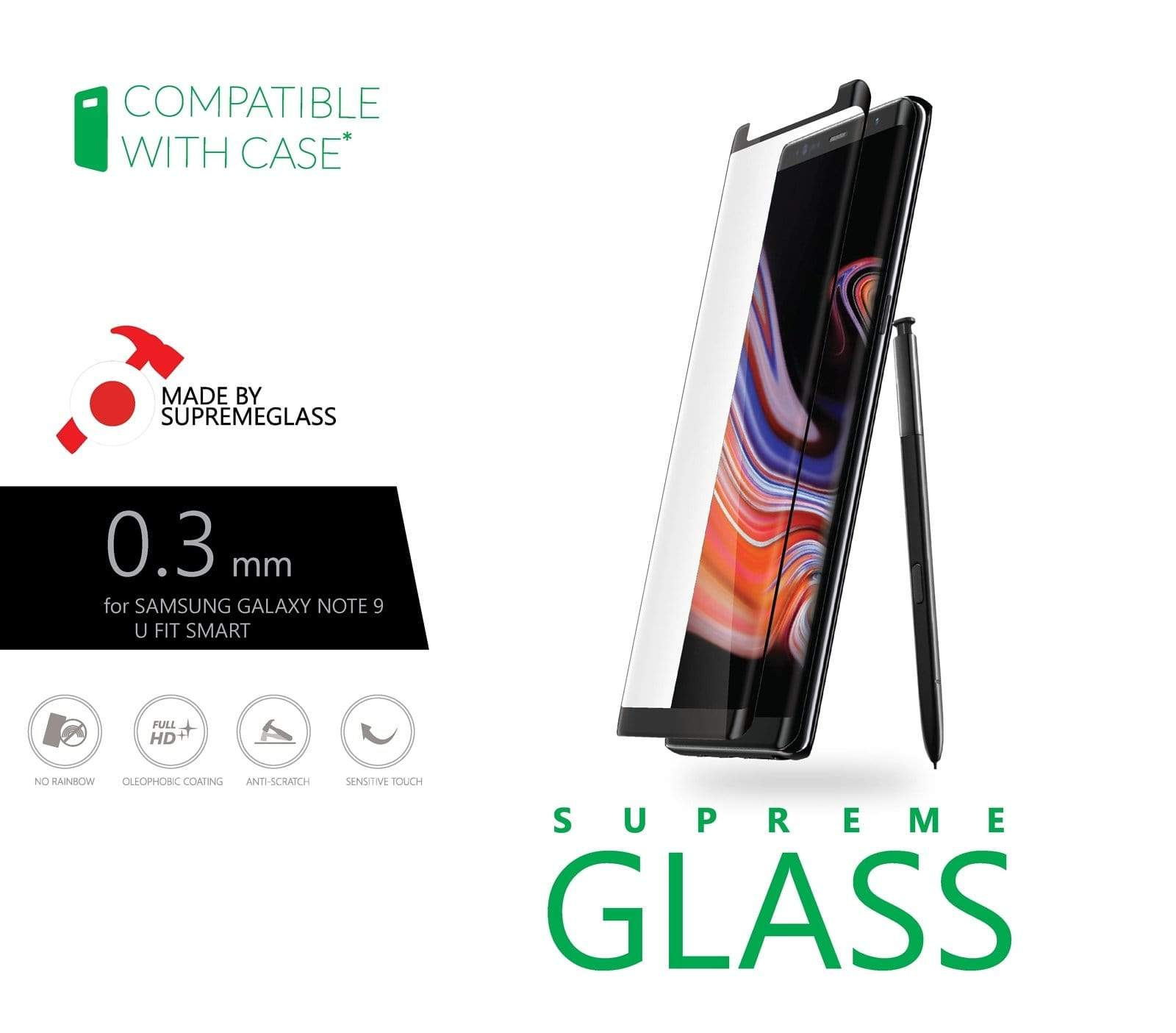 AMAZINGthing SupremeGlass U Fit Smart for Galaxy Note 9 (side adhesive) Tempered Glass - Case Studio
