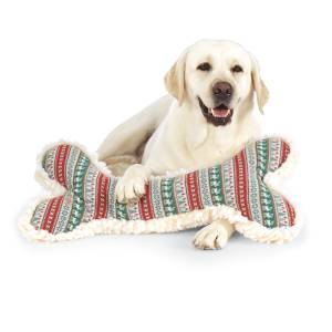 Huggle Hounds 2' Winter Wonderland Bone with Fleece and Squeaker