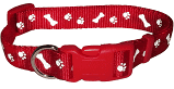 Red Reflective Paw & Bone Collar