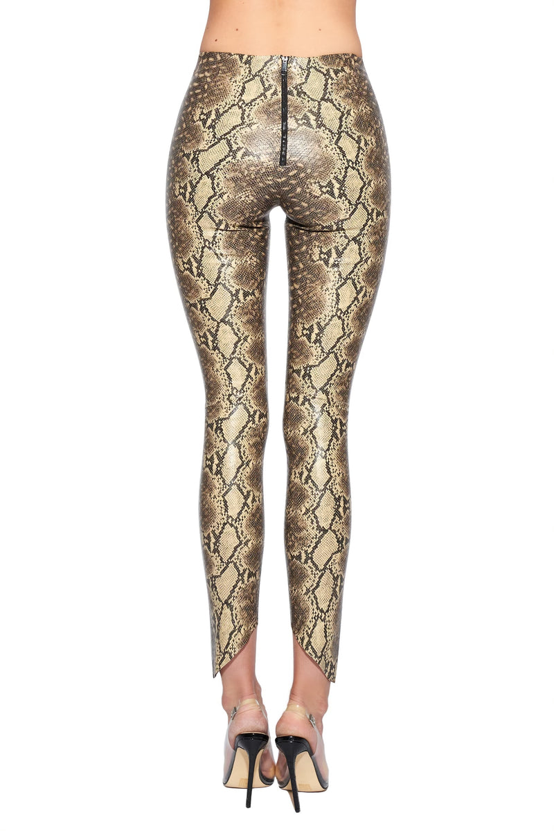 snake embossed faux leather leggings