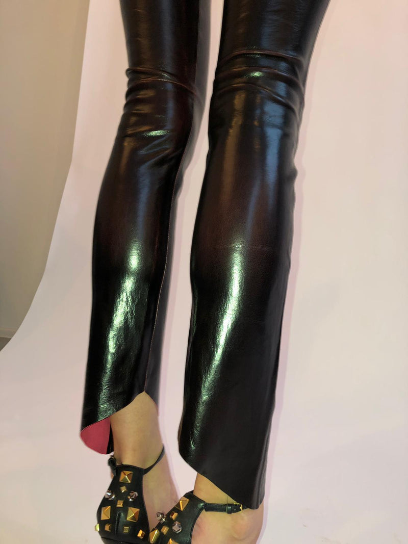 Asymmetric Hem Shiny Stretch leather leggings