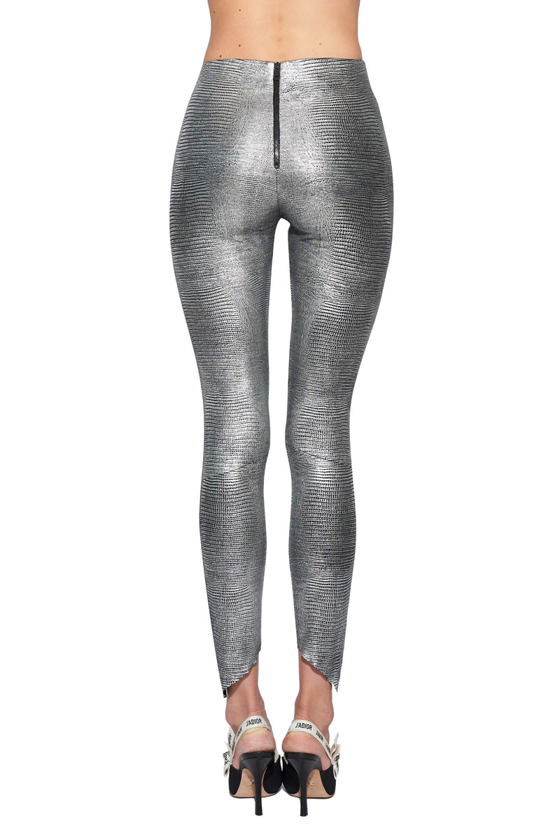 lizard embossed stretch leather leggings with asymmetric hems