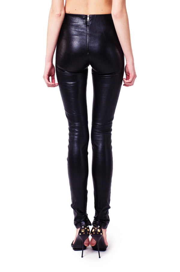 stretch leather leggings with zips