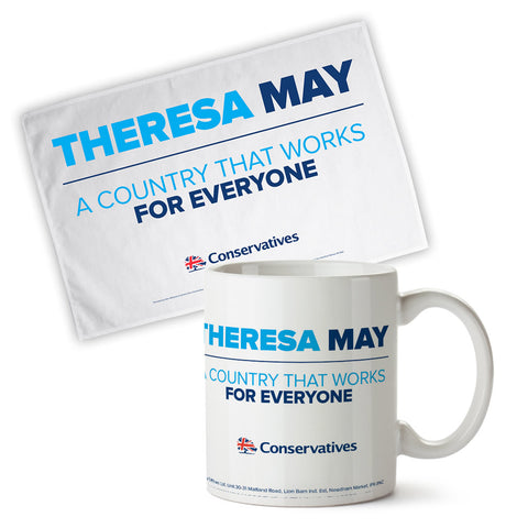 Theresa May - A County That Works For Everyone Limited Edition Mug and Tea Towel Set