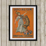 Socialism throttling the country Black Framed Print (Lifestyle)