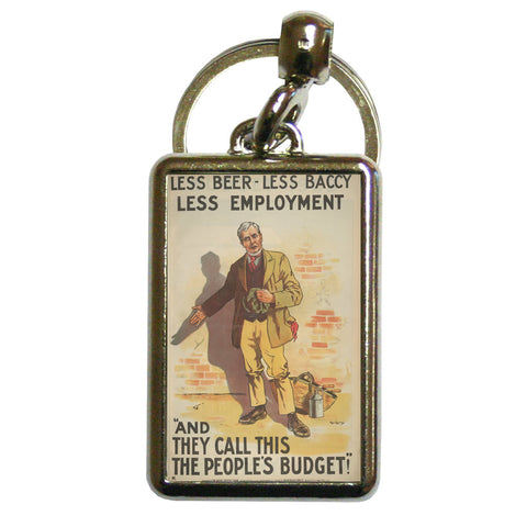 Less beer, less baccy, less employment Metal Keyring