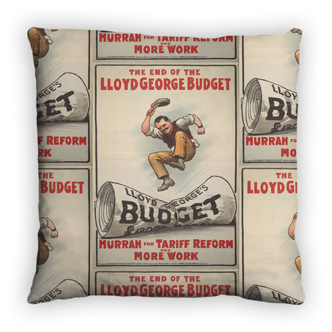 The End of Lloyd George's Budget Feather Cushion