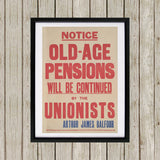 Old-age pensions will be continued by the Unionists Black Framed Print (Lifestyle)