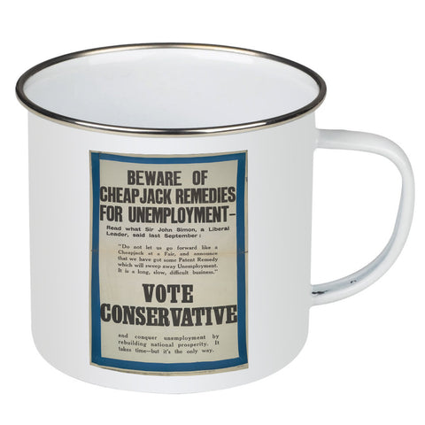 Beware of cheap jack remedies for unemployment Enamel Mug