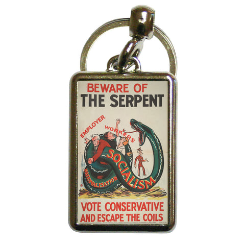 Beware of the Serpent Metal Keyring