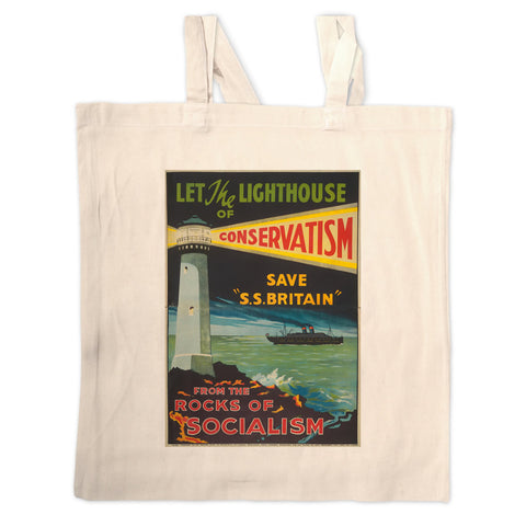 Let the lighthouse of Conservatism save 'SS Great Britain' from the rocks of Socialism Long Handled Tote Bag