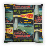 Let the lighthouse of Conservatism save 'SS Great Britain' from the rocks of Socialism Feather Cushion