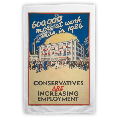 600,000 more at work than in 1924 Tea Towel