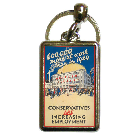 600,000 more at work than in 1924 Metal Keyring