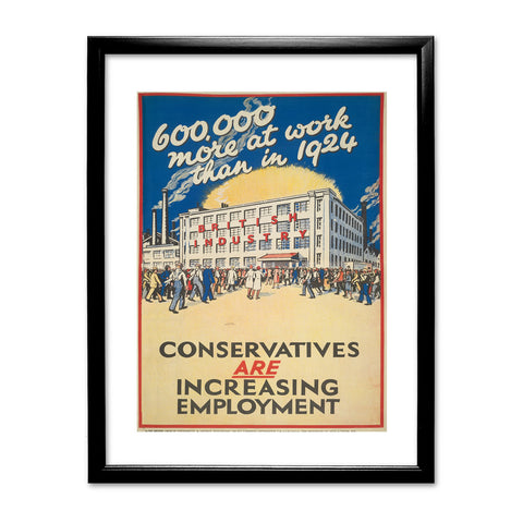 600,000 more at work than in 1924 Black Framed Print