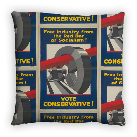 Free industry from the red bar of socialism Feather Cushion