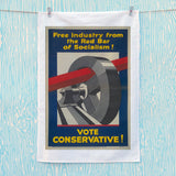 Free industry from the red bar of socialism Tea Towel (Lifestyle)