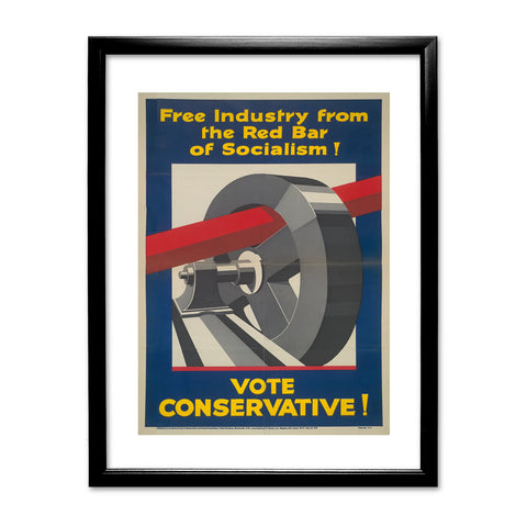 Free industry from the red bar of socialism Black Framed Print