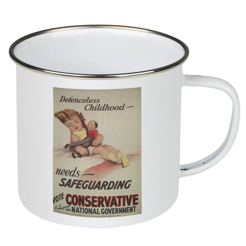 Defenceless childhood - needs safeguarding Enamel Mug