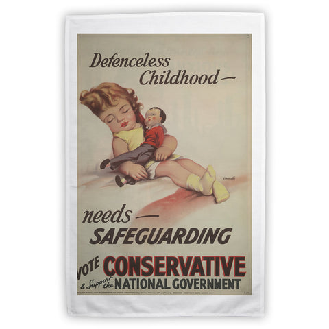 Defenceless childhood - needs safeguarding Tea Towel