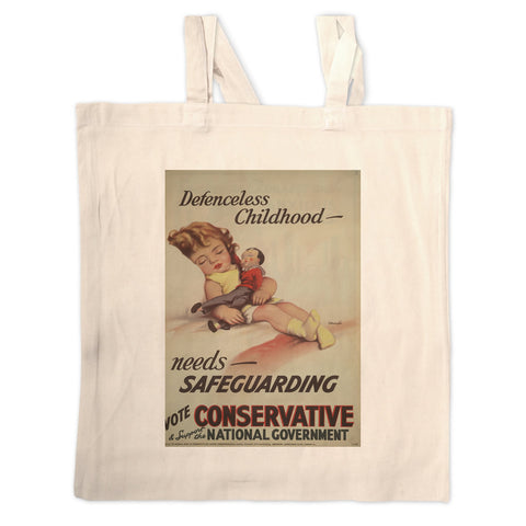 Defenceless childhood - needs safeguarding Long Handled Tote Bag