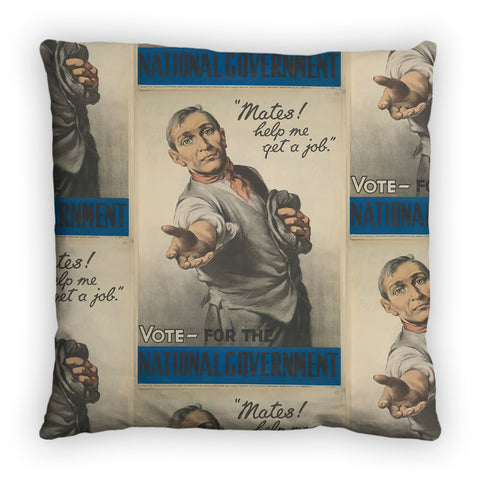 """Mates! Help me get a job!"" Feather Cushion"