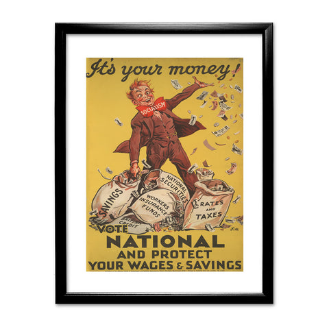 It's your money Black Framed Print