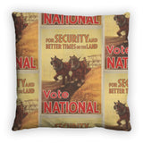 For security and better times on the land, vote National Feather Cushion