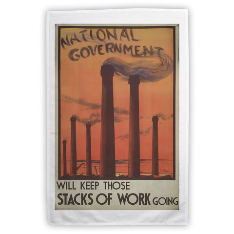 National government will keep those stacks of work going Tea Towel