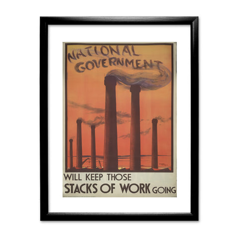 National government will keep those stacks of work going Black Framed Print