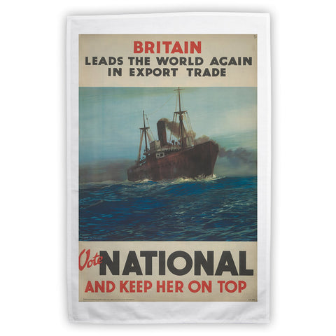 Britain leads the world again in export trade Tea Towel