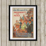 Join this march to prosperity and peace under National Government Black Framed Print (Lifestyle)