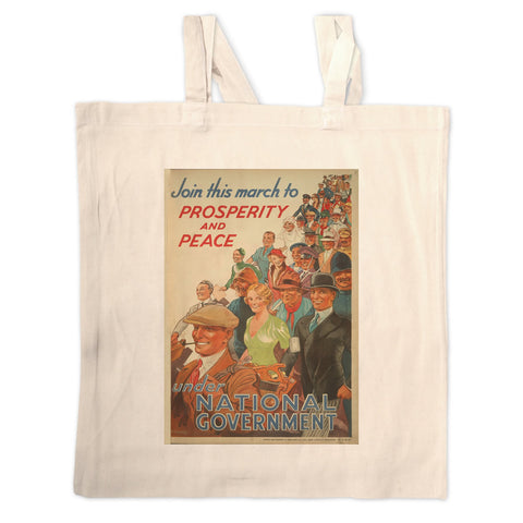 Join this march to prosperity and peace under National Government Long Handled Tote Bag