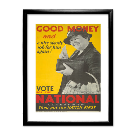 Good money... and a nice steady job for him again! Black Framed Print