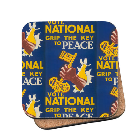 Grip the key to peace Cork Coaster