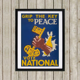 Grip the key to peace Black Framed Print (Lifestyle)