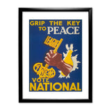 Grip the key to peace Black Framed Print