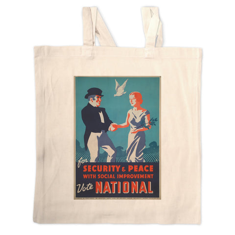 For security and peace with social improvement, Vote National Long Handled Tote Bag
